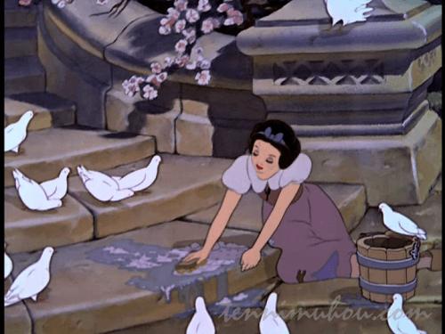 下働きさせられる白雪姫