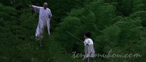 竹林で戦うイェンとムーバイ