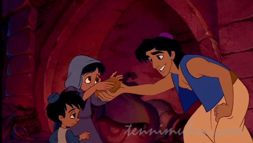 姉弟にパンをあげるアラジン