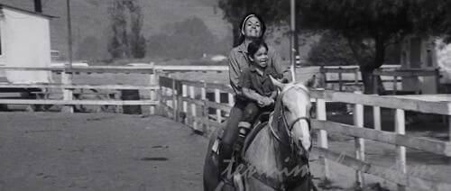 仲良く母親と乗馬