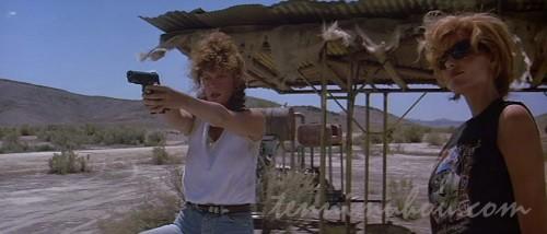 銃を構えるルイーズとテルマ